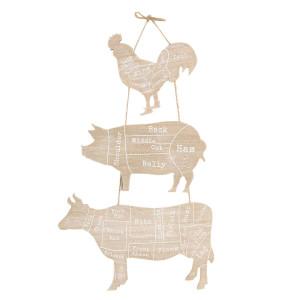 Decoratiune de perete din lemn natur Animale 28 cm x 1 cm x 57 h