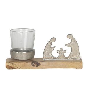Suport lumanare din lemn sticla si metal 18 cm x 5 cm x 8 h