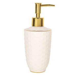 Dispenser ceramica alb auriu pentru sapun Ø 7 cm x 19 cm