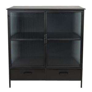 Comoda cu 2 usi 2 sertare din fier negru si sticla 90 cm x 38 cm x 102 h