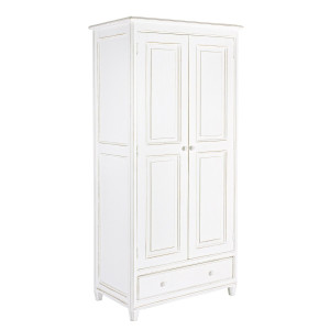 Dulap 2 usi 1 sertar din lemn alb antichizat 90 cm x 55 cm x 190 h