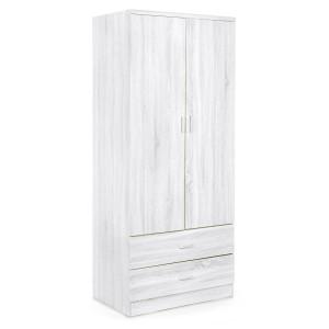 Dulap din mdf alb marmorat cu 2 usi si 2 sertare Leonardo 90 cm x 52 cm x 190 h