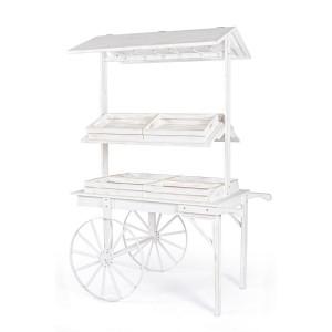 Carucior candy bar din lemn alb antichizat 138 cm x 80 cm x 207 h