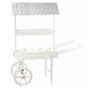 Carucior candy bar din lemn alb 132 cm x 48 cm x 150 h