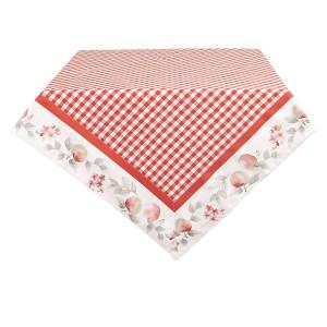 Fata de masa din bumbac alb rosu 180 cm x 130 cm