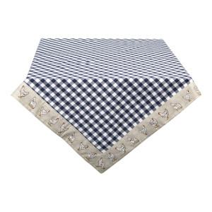 Fata de masa din bumbac albastru alb bej 100 cm x 100 cm