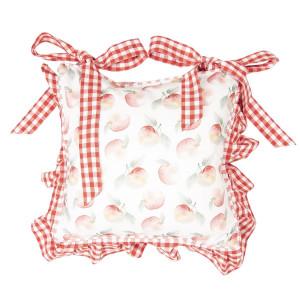 Husa perna de scaun bumbac alb rosu 40 cm x 40 cm