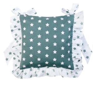 Husa perna de scaun bumbac alb verde 40 cm x 40 cm