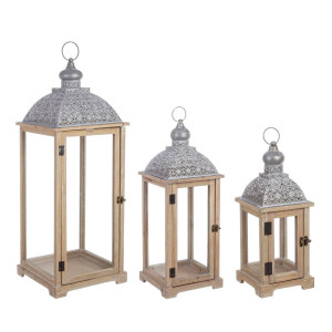 Set 3 felinare lemn natur metal gri Oberlech