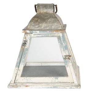 Felinar din lemn alb albastru vintage 33 cm x 33 cm x 37 h