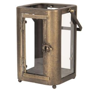 Felinar suspendabil din fier negru cu patina aramie si sticla 19 cm x 15 cm x 23 / 33 h