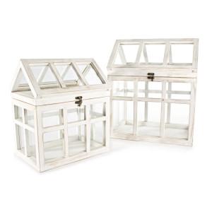 Set 2 felinare din lemn alb antichizat si sticla 30 cm x 22 cm x 34 h; 35 cm x 28 cm x 42 h