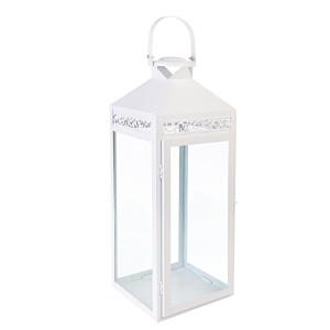 Felinar alb metal sticla Amarante 15 cm x 14 cm x 40h