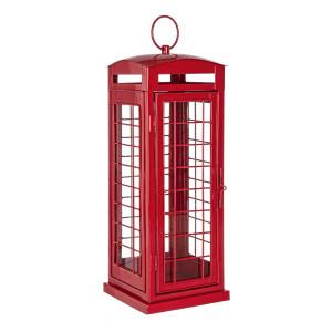 Felinar metal sticla rosu model Cabina Telefonica Anglia 16 cm x 16 cm x43 h