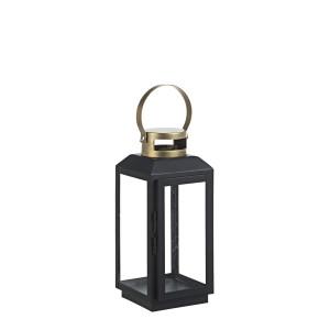 Felinar metal sticla negru auriu Crissie 13 cm x 13 cm x 29 h