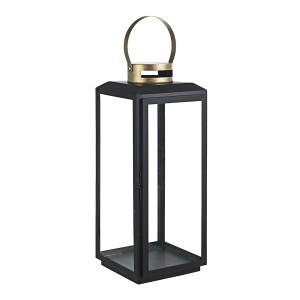 Felinar metal sticla negru auriu Crissie 21 cm x 20 cm x 49 h