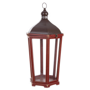 Felinar metal lemn sticla rosu maro 38 cm x 33 cm x 70 h