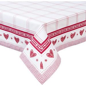 Fata de masa bumbac alb rosu Cuore 150 cm x 150 cm