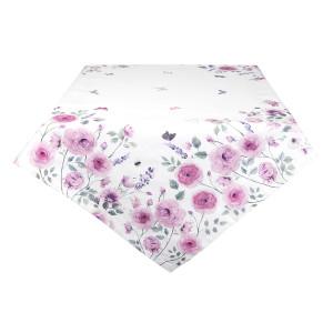 Fata de masa bumbac alb roz Roses 150 cm x 250 cm