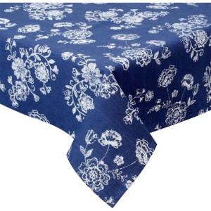 Fata de masa bumbac albastru alb Flowers 100 cm x 100 cm