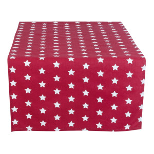 Traversa de masa bumbac rosu alb model stelute 50x140 cm