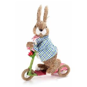 Figurina Iepuras Paste fibre naturale cu bicicleta Boy cm 25 cm x 12 cm x 35 H
