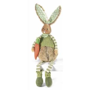 Figurina Iepuras Paste Boy textil fibre naturale 12 cm x 12 cm x 52 h