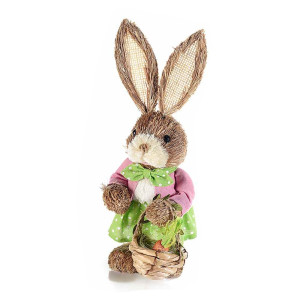 Figurina Iepuras Paste Girl rochita verde textil fibre naturale 14 cm x 33 H