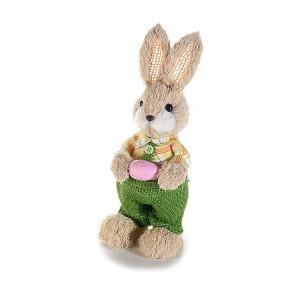 Figurina Iepuras Paste Boy cu salopeta verde textil fibre naturale cm 9 x 22 H