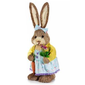 Figurina Iepuras Paste Girl textil fibre naturale cm 25 x 22 cm x 67H