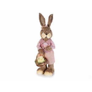 Figurina Iepuras Paste cu rochita roz fibre naturale 40 cm x 30 cm x 43 h