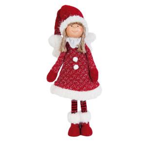 Figurina Inger decorativ portelan textil rosu alb 13x30 cm