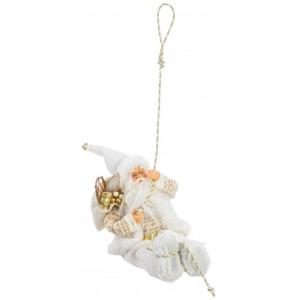 Figurina Mos Craciun suspendabil alb auriu 16x30h