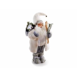Figurina Mos Craciun alb gri cm 25x21x60H