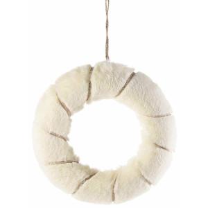 Coronita din textil alb si auriu Ø 26 cm