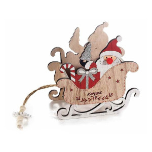Sanie decorativa din lemn rosu natur model Mos Craciun 15x8x15 cm