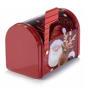Cutie din metal rosu model Cutie Postala Santa 14x8x10 cm