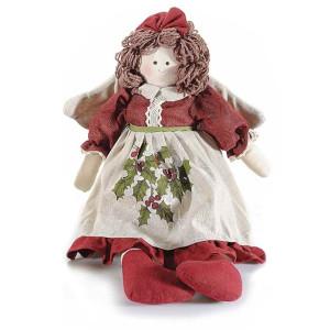 Figurina Inger din textil crem visiniu 20x10x27/48 cm