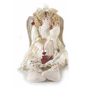 Figurina Inger din textil alb 20x10x27/48 cm