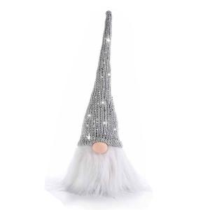 Figurina Mos Craciun din textil gri alb 10x9x31 cm