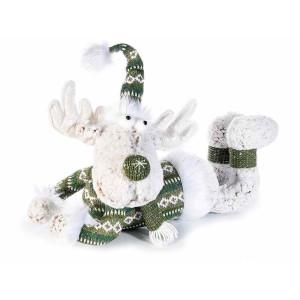 Figurina Ren din textil alb verde 52x21x41 cm