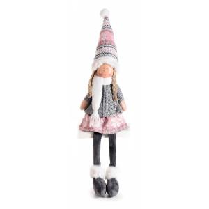 Figurina Inger Girl din portelan si textil roz gri 10x9x35/53 cm