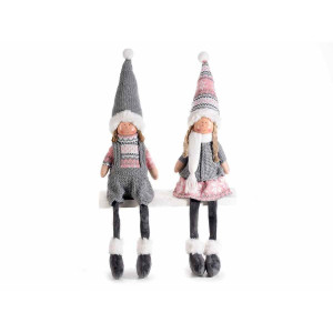 Set 2 figurine Ingeri din portelan si textil roz gri 10x9x35/53cm