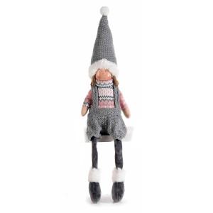 Figurina Inger Boy din portelan si textil roz gri 10x9x35/53 cm