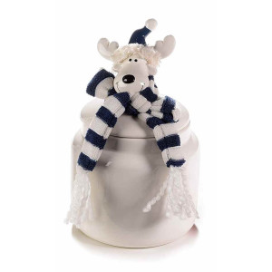 Borcan decorativ ceramica gri albastru model Ren Ø 11x22 cm