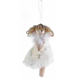 Ornament brad din dantela alba model Inger 12x22 cm