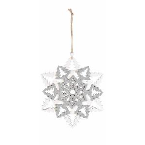 Decoratiune suspendabila din lemn alb argintiu model Fulg 16x18 cm