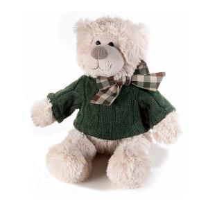 Figurina Ursulet din textil crem verde 18x14x30 cm