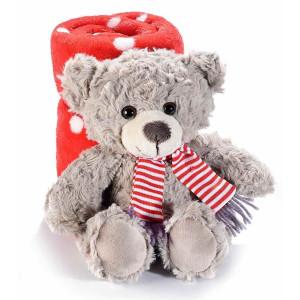 Figurina Ursulet din textil bej cu paturica rosie 21x18x19 cm