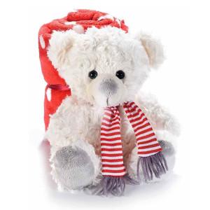 Figurina Ursulet din textil crem cu paturica rosie 21x18x19 cm